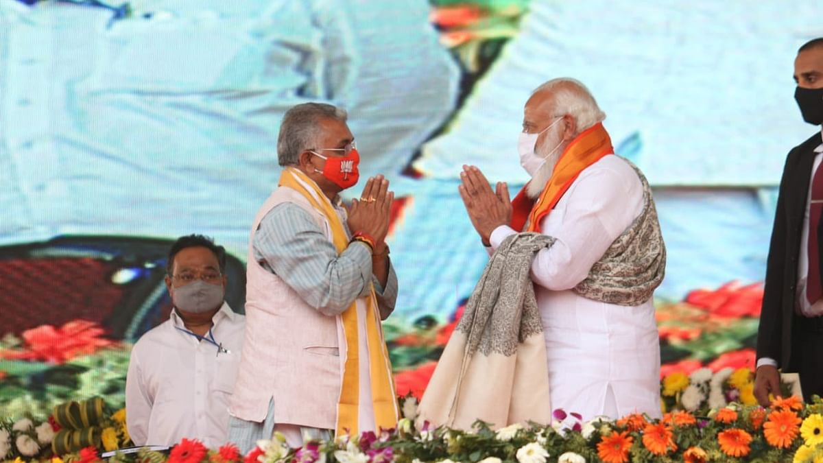 Prime Minister Narendra Modi with BJP Bengal chief Dilip Ghosh on Sunday (January 7)