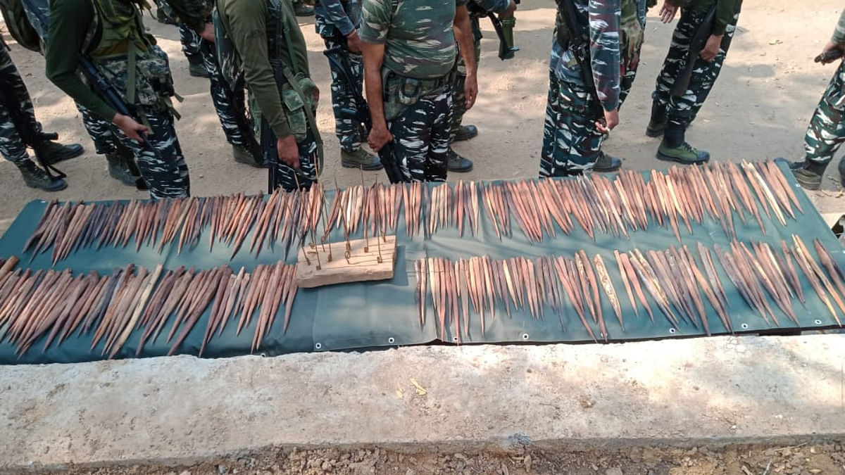 Securty personnel recovered a huge cache of spikes from Sukma