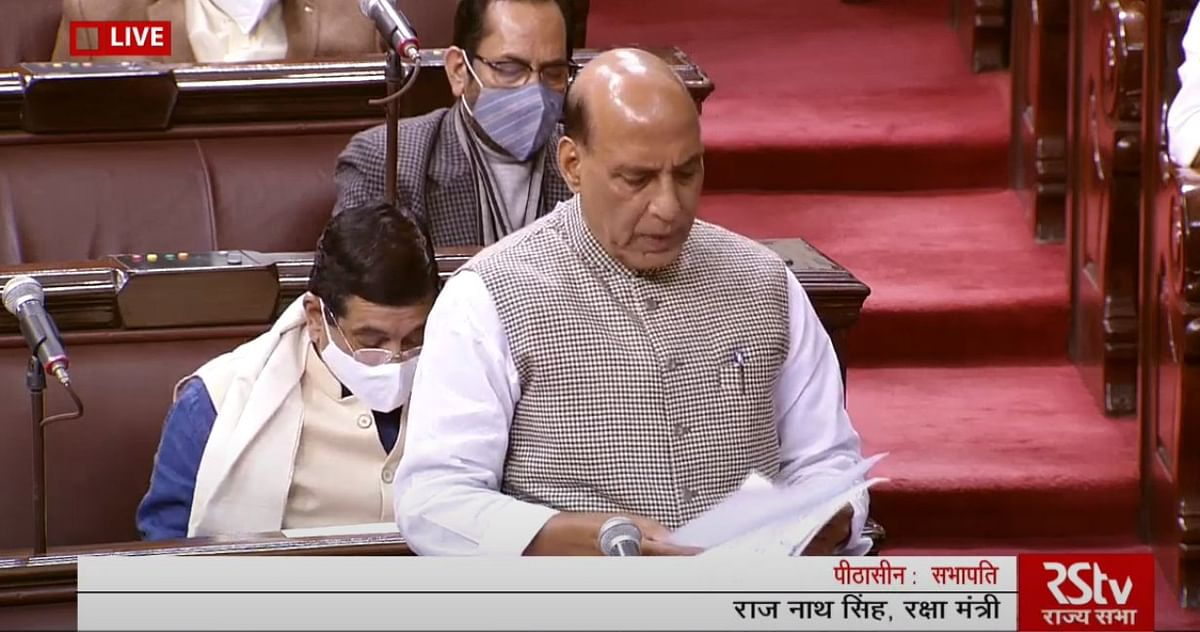 Defence Minister Rajnath Singh  speaks in Rajya Sabha on Thursday