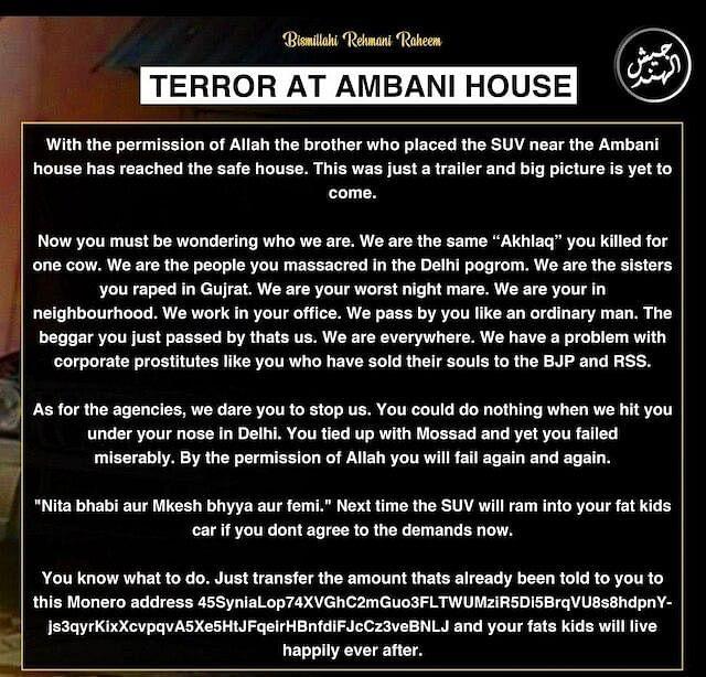 Ambani bomb scare: Jaish-ul-Hind claims responsibility for placing explosives-laden SUV outside Antilia