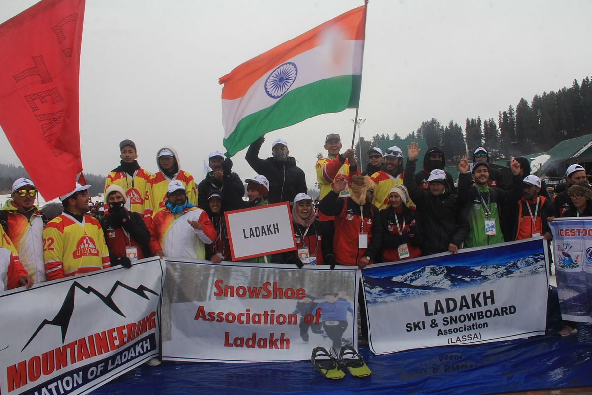 Jammu and Kashmir, Feb 26 (ANI): Participants during 2nd edition of Khelo India winter games 2021, in Gulmarg on Friday.