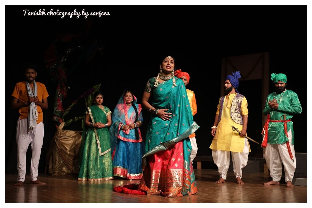 A scene from Bagheli play, Nandu Nachaiyyah, was staged at Shaheed Bhawan in Bhopal on Friday