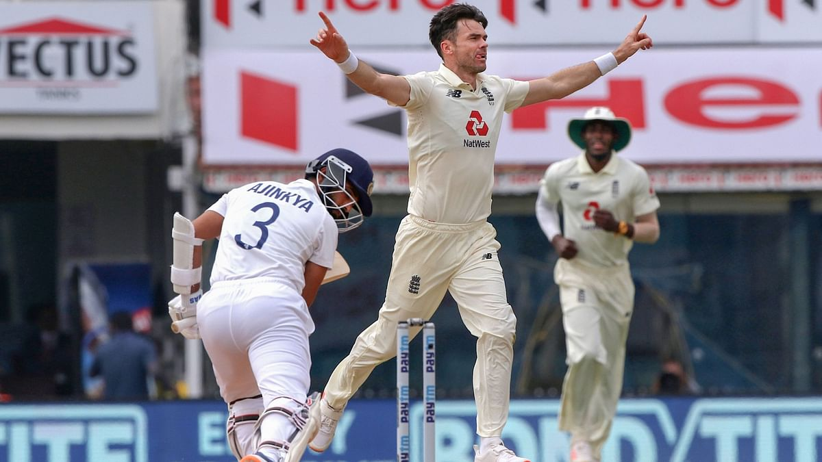 England fast bowler James Anderson celebrates the wicket of India's Ajinkya Rahane during the 5th and final day of first cricket test match between India and England, at MA Chidambaram Stadium, in Chennai, Tuesday, Feb. 9, 2021