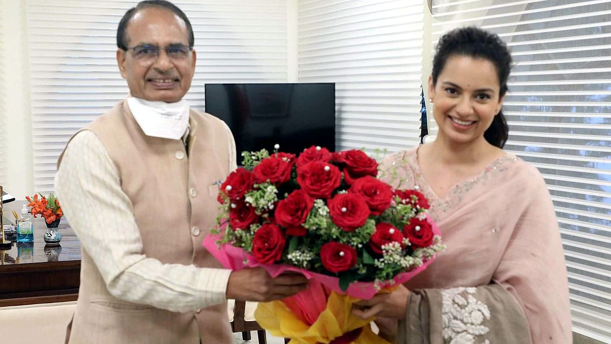 Kangana Ranaut meets Madhya Pradesh Chief Minister Shivraj Singh Chouhan at his residence during the ongoing shooting of her film 'Dhaakad', in Bhopal
