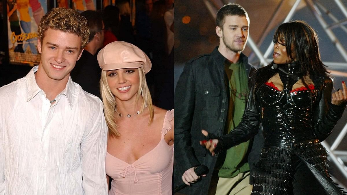 L -Justin with Britney, R - Justin with Janet