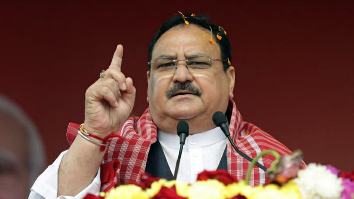 BJP national president JP Nadda addresses during a public rally, in Malda on Saturday.