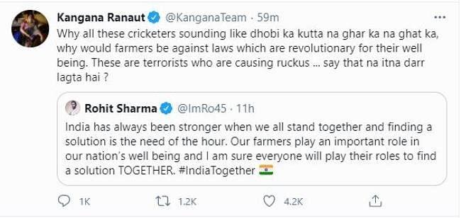 Twitter deletes Kangana Ranaut's 'hateful' tweet against cricketer Rohit Sharma - here's what she said