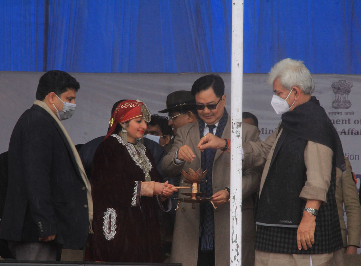 Jammu and Kashmir, Feb 26 (ANI): Union Minister for Youth Affairs and Sports Kiren Rijiju along with Lieutenant Governor of Jammu and Kashmir Manoj Sinha seen during 2nd edition of Khelo India winter games 2021, in Gulmarg on Friday.