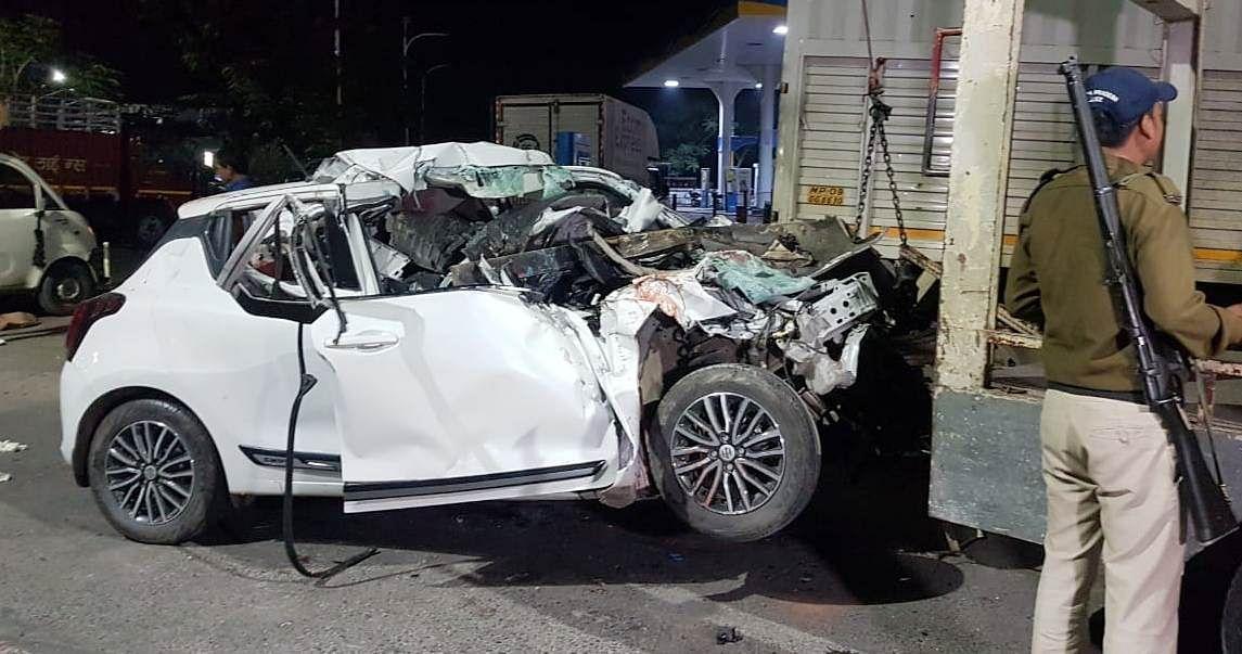 Damaged car being towed away