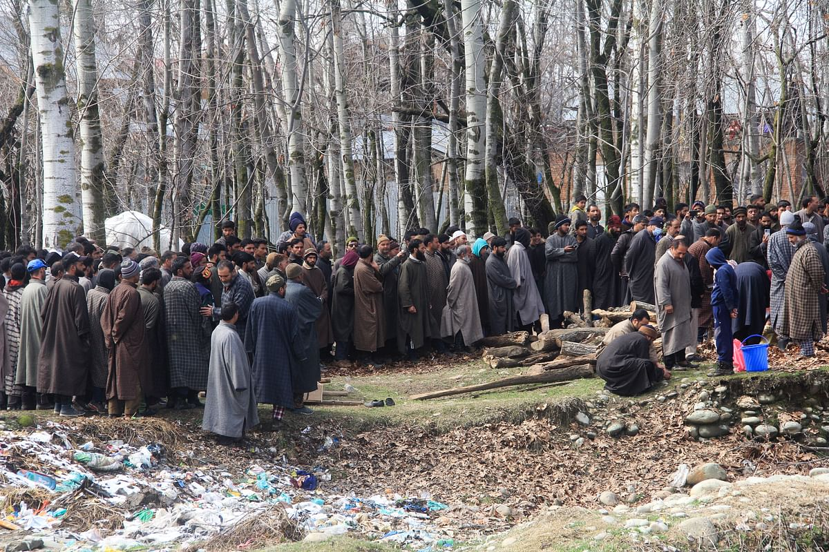 Local Muslims gathered to perform last rites of centenarian Kashmiri Pandit woman in Kunzer village of Jammu and Kashmir.