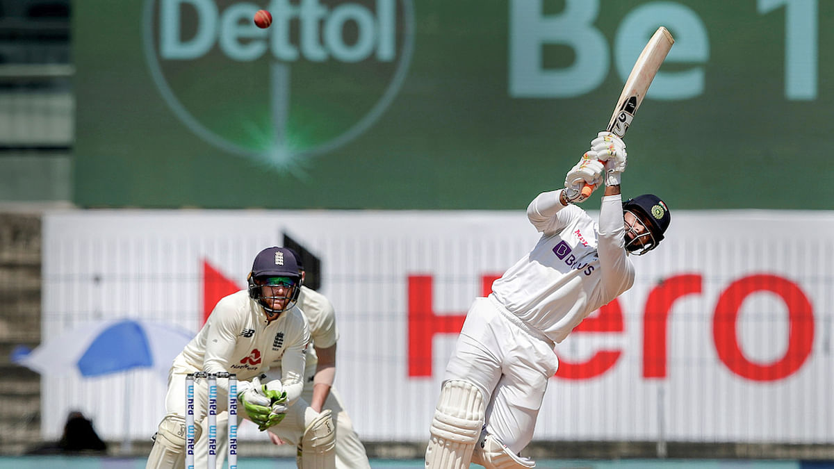 Indian player Rishabh Pant plays a shot during the 3rd day of first cricket test match between India and England, at MA Chidambaram Stadium, in Chennai