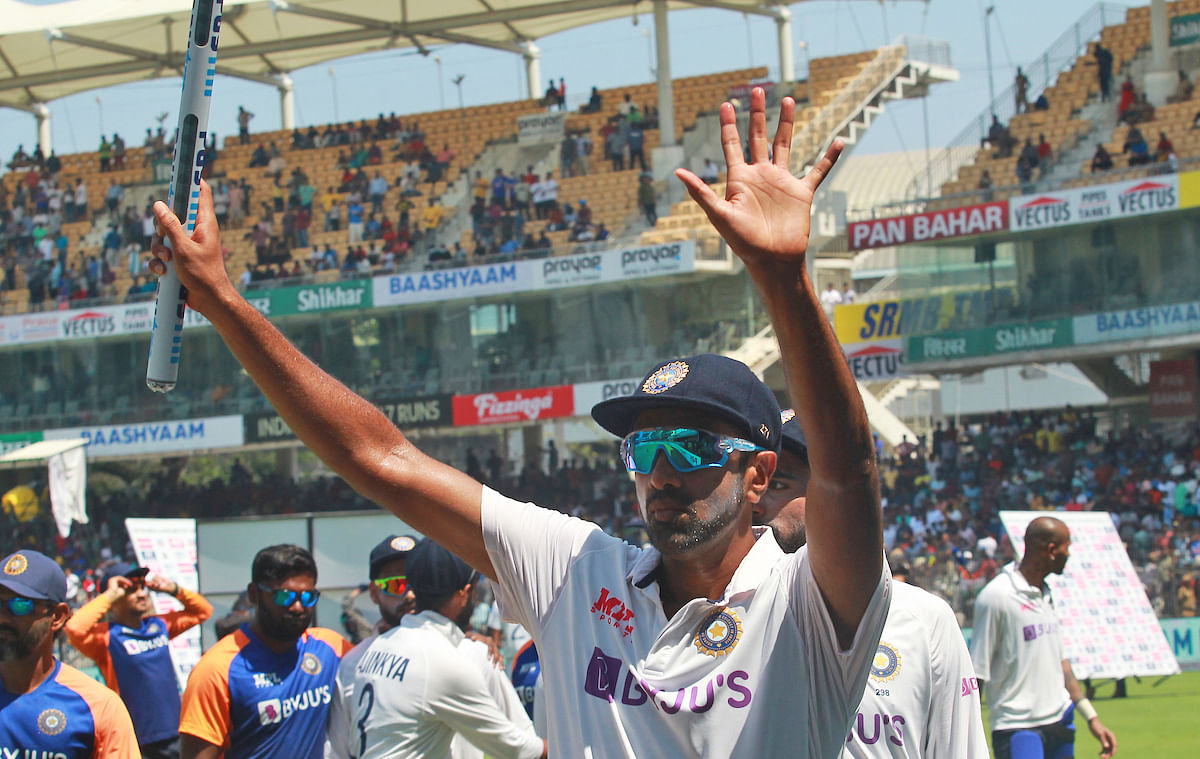 Tamil Nadu, Feb 16 (ANI): Indias Ravichandran Ashwin gestures after winning the 2nd test match against England at MA Chidambaram Stadium, in Chennai on Tuesday.