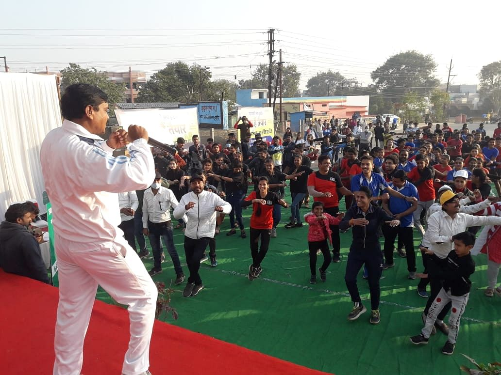 Residents doing Zumba aerobics on Indore's celebratory song during campaign launch in Panchsheel Nagar on Sunday