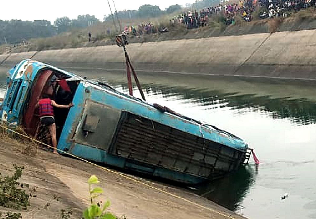 NDRF team carries out rescue operation after an overcrowded bus plunged into a canal in Sidhi district