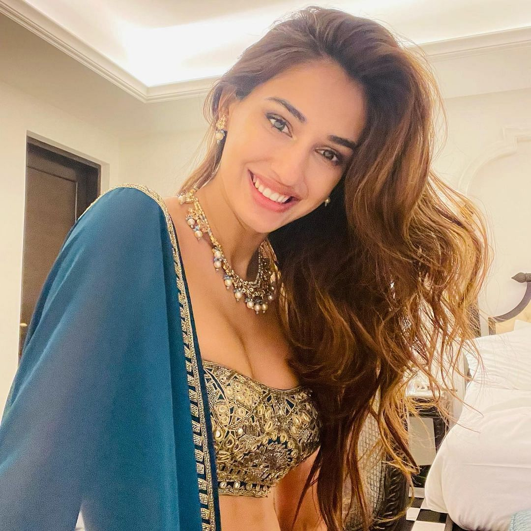 Disha Patani's stunning teal lehenga with gold embroidered blouse costs Rs 78,000!