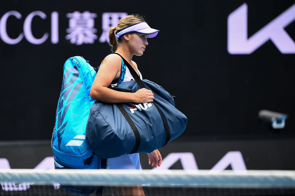 Sofia Kenin of the US leaves after losing against Estonia's Kaia Kanepi during their women's singles match on day four of the Australian Open tennis tournament in Melbourne on Thursday