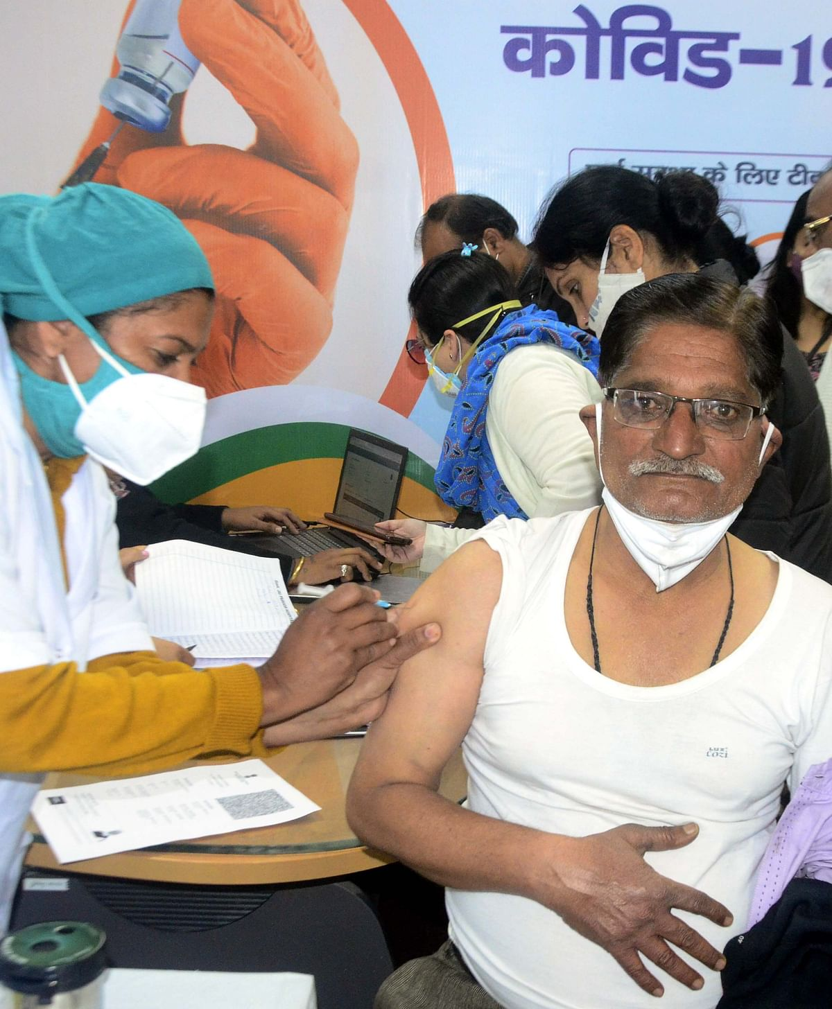 Health worker gets vaccine shot in Bhopal on Thursday