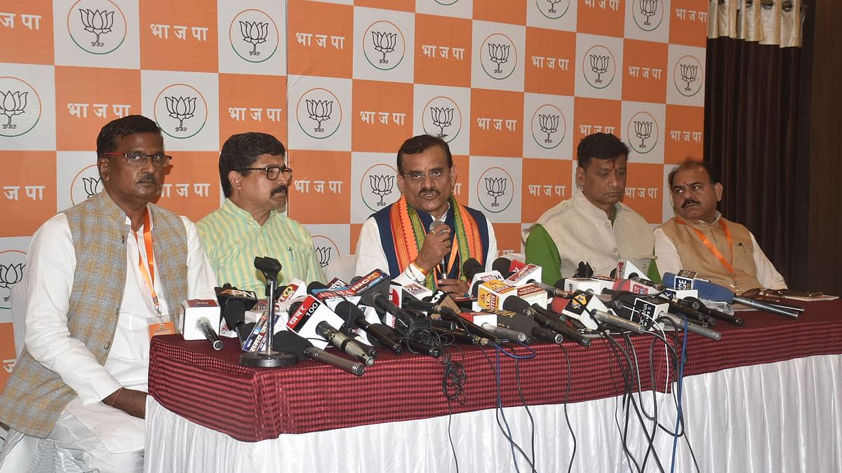 State BJP president and MP Vishnu Dutt Sharma   addressing a press conference, in Ujjain on Saturday.