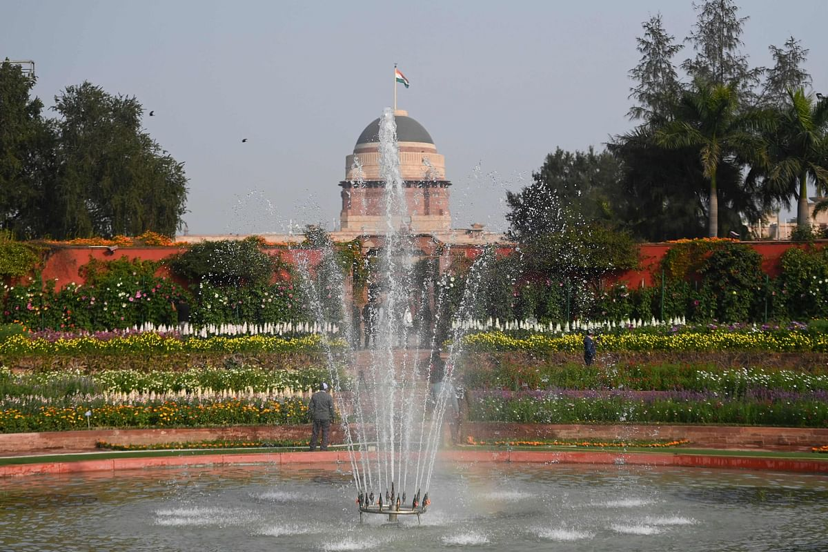 A general view of the Mughal Gardens at the Indian Presidential Palace in New Delhi.
