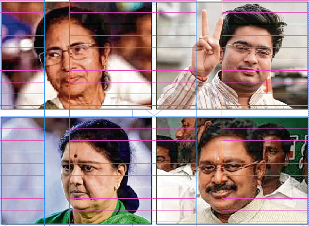Shekhar Iyer chronicles the tale of two aunts and their nephews -- Mamata & Abhishek, Sasikala & Dhinakaran