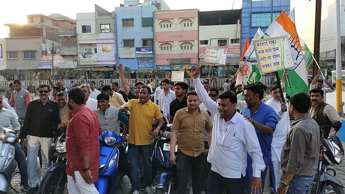 YC workers going through the norms of demonstation against fuel price hike in Ujjain on Wednesday