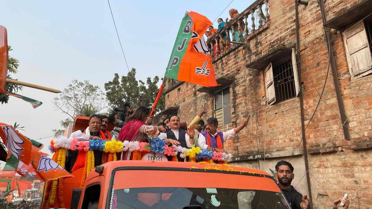 BJP national president JP Nadda during party's maiden Parivartan Yatra in Bengal on Saturday.