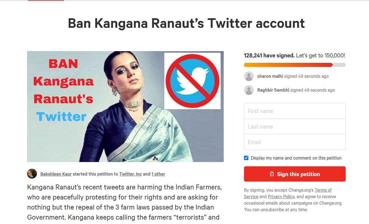 Amid farmers' protest, over 1.29 lakh signatures on petition to ban Kangana Ranaut's Twitter account