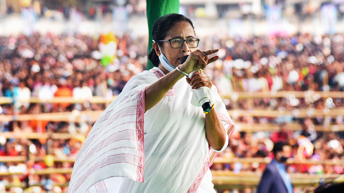 Malda: West Bengal Chief Minister Mamata Banerjee addresses a public meeting in Malda district, Wednesday, Feb. 10, 2021.