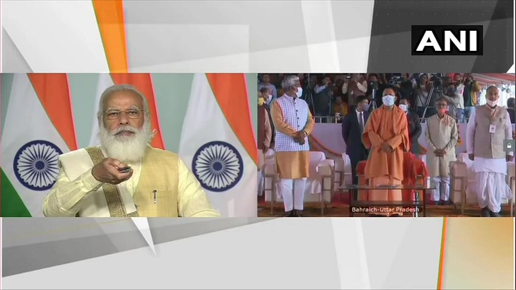 Prime Minister Narendra Modi lays the foundation stone of Maharaja Suheldev Memorial and development work of Chittaura Lake in Uttar Pradesh.