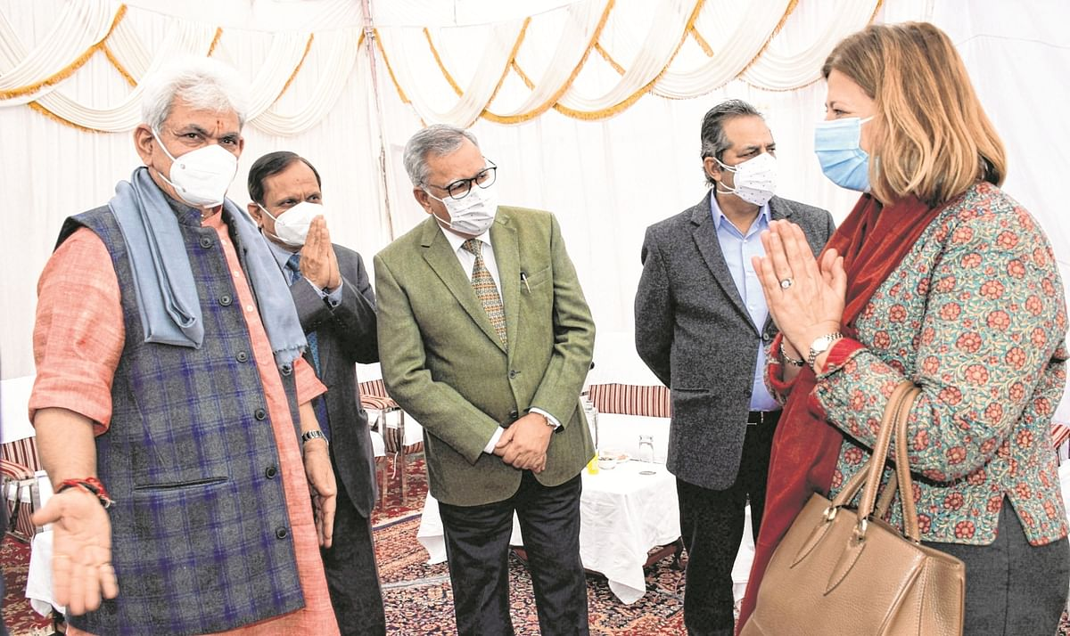 Lt. Gov. Manoj Sinha interacts with foreign envoys, who are on a two-day visit to Jammu and Kashmir, in Jammu, on Feb 18, 2021.