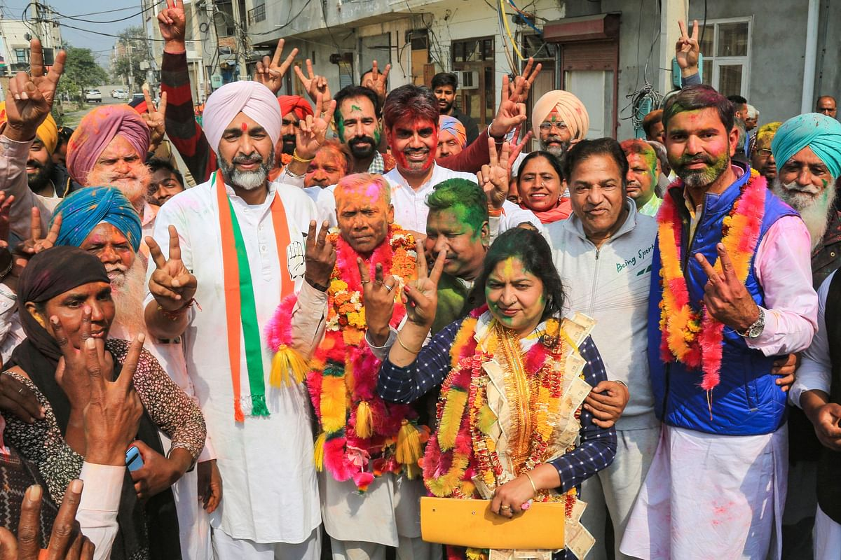 Punjab Finance Minister and Congress leader Manpreet Singh Badal meets the winning candidates of his party after the results of municipal corporation elections were declared in Bathinda