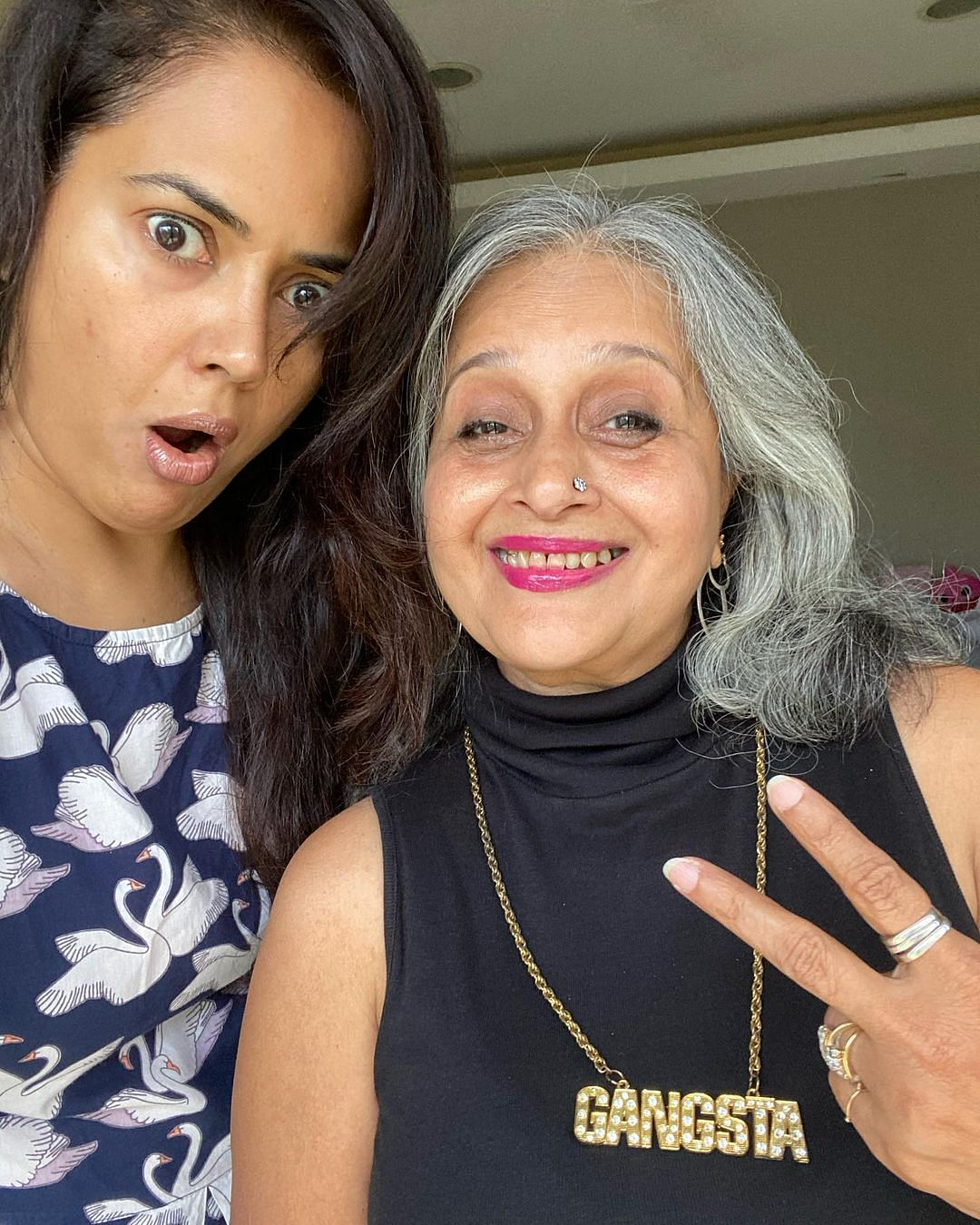 Sameera with her mother-in-law Manjri Varde