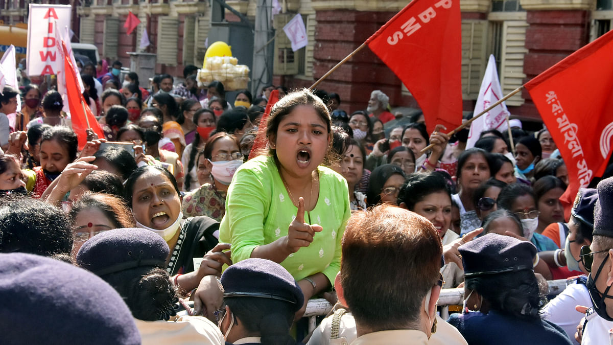 Left and Congress women activists during a clash with Kolkata police women wing during a protest against West Bengal Chief Minister Mamata Banerjee and her government, in Kolkata on Tuesday.