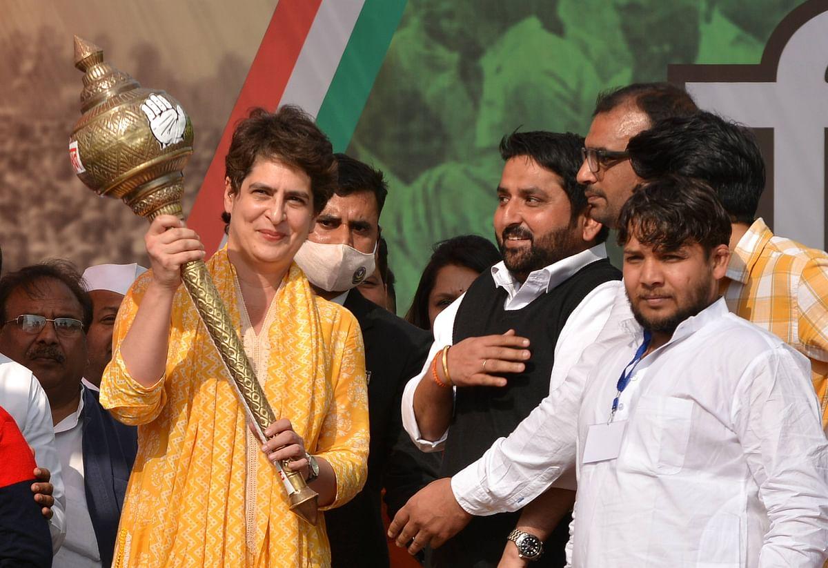 Muzaffarnagar: AICC General Secretary Priyanka Gandhi Vadra being felicitated during a Kisan Mahapanchayat, in support of the ongoing farmers agitation against the three agri-laws, at Baghra in Muzaffarnagar, Saturday, Feb. 20, 2021