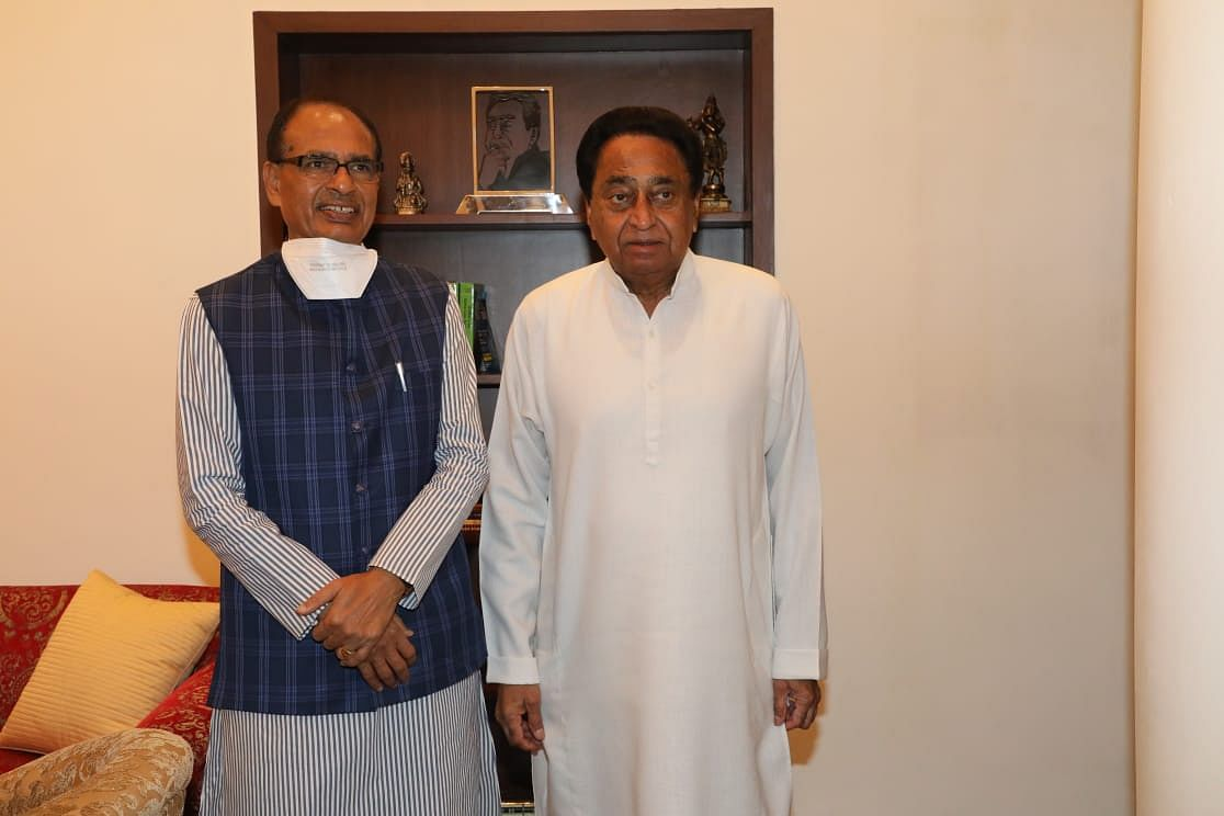 Chief Minister Shivraj Singh Chouhan visits PCC chief Kamal Nath who was injured after an elevator breakdown in Indore.