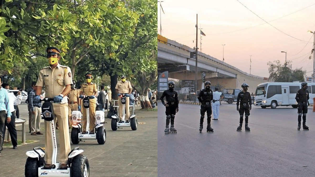 Mumbai cops have segways for patrolling, but cops in Karachi like to roll with it