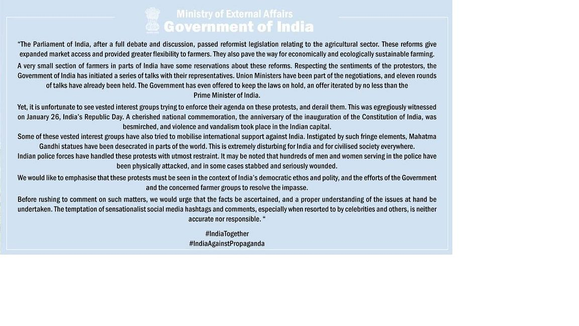 The response issued by the Union Ministry of External Affairs on February 3
