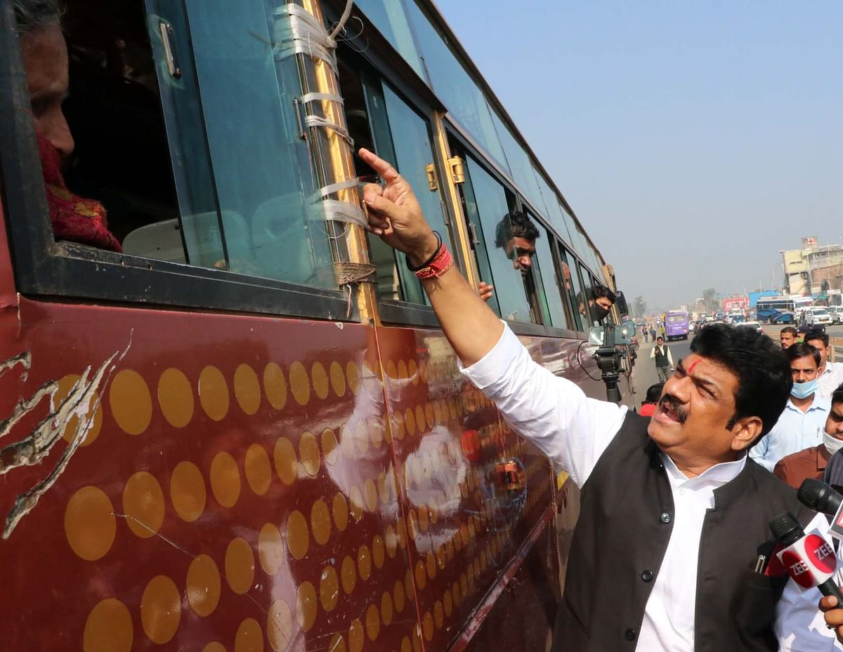 Transport minister Govind Singh Rajput inspects the passengers at 11-Mills Square on Thursday.