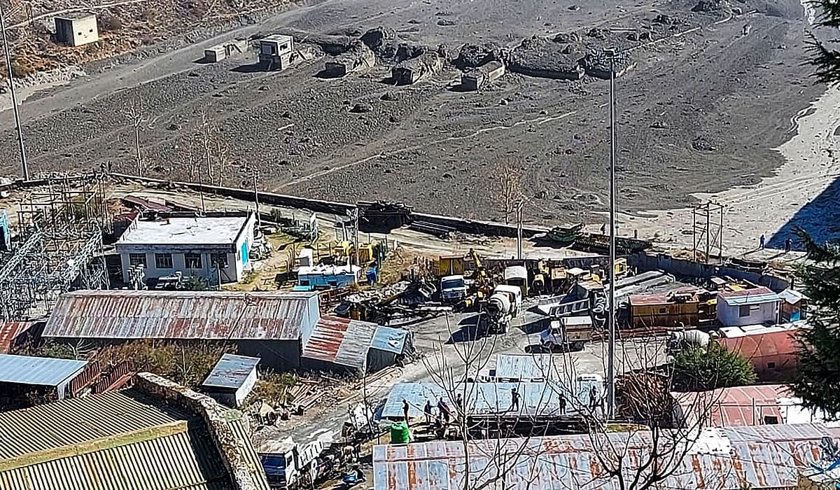 Chamoli: Washed away barrage of Rishi Ganga power project in Neeti valley, after a glacier broke off in Joshimath in Uttarakhand's Chamoli district causing a massive flood in the Dhauli Ganga river, Sunday, Feb. 7, 2021.