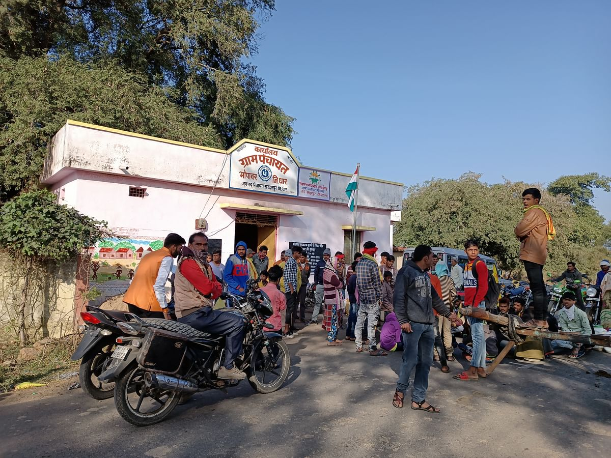 Villagers staged sit-in outside Bhopavar village panchayat recently to demand tap water