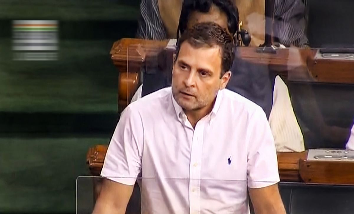New Delhi: Congress leader Rahul Gandhi speaks in the Lok Sabha during the ongoing Budget Session of Parliament, in New Delhi, Thursday, Feb. 11, 2021.