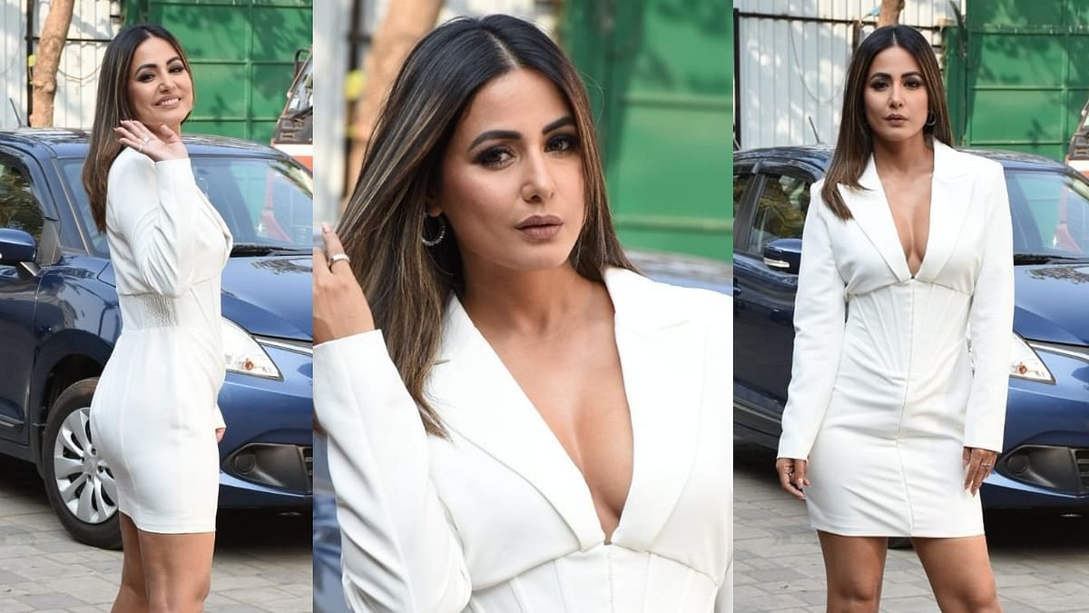 Hina Khan sends temperatures soaring in a chic white outfit with a plunging neckline