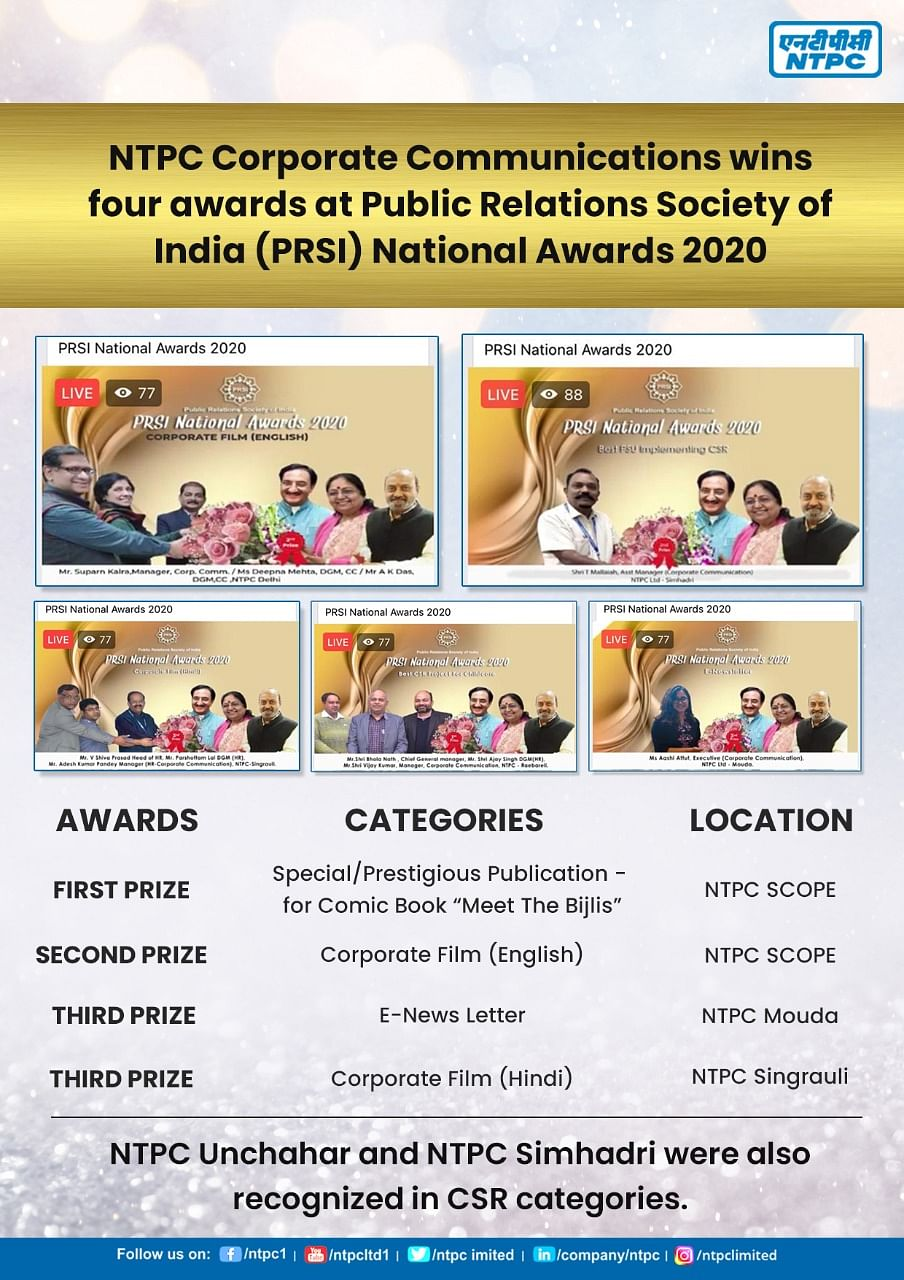 NTPC bags 4 awards at PRSI National Awards 2020