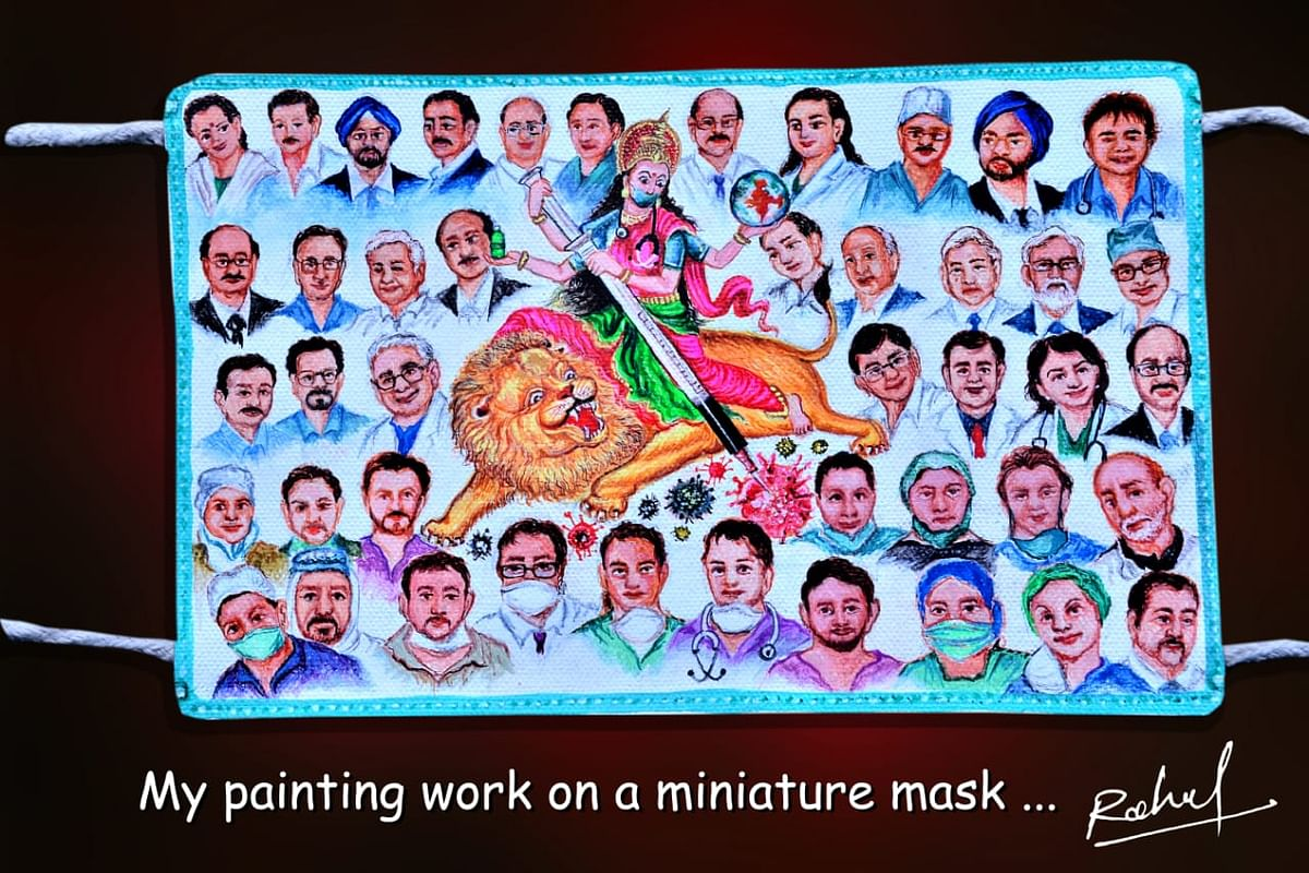 Mask prepared by Rahul Kumar showing 44 doctors