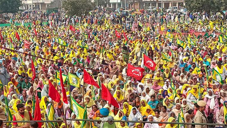 Farmers at the Maharally held at Barnala in Punjab