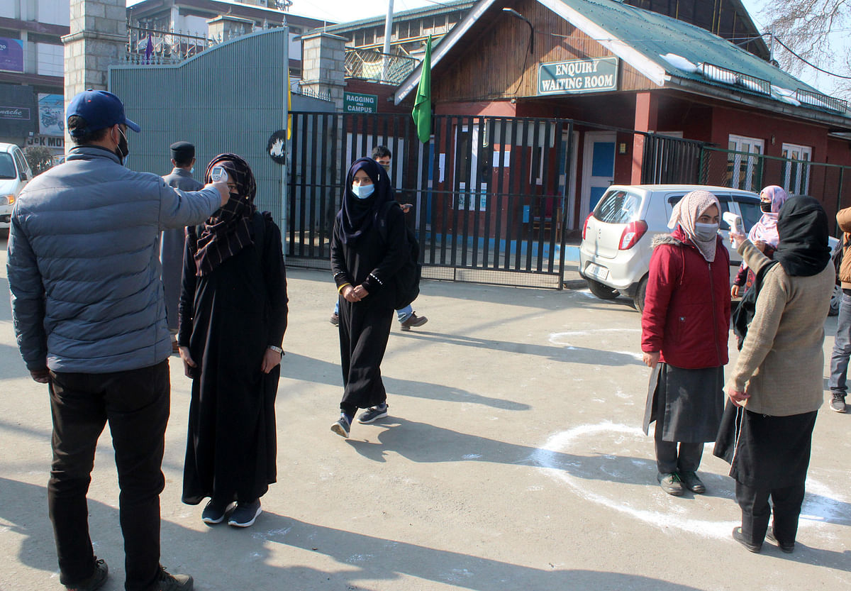 Students walk inside a campus as colleges reopens since Covid_19 pandemic in Srinagar, Kashmir