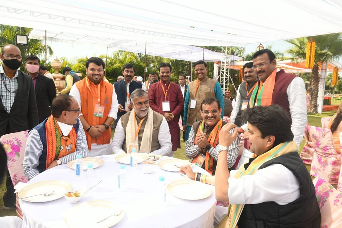 Chief Minister Shivraj Singh Chouhan, Union minister Prahalad Patel, state party chief VD Sharma and Jyotiraditya Scindia share a lighter moment at the party MLAs' training session at Ujjain.