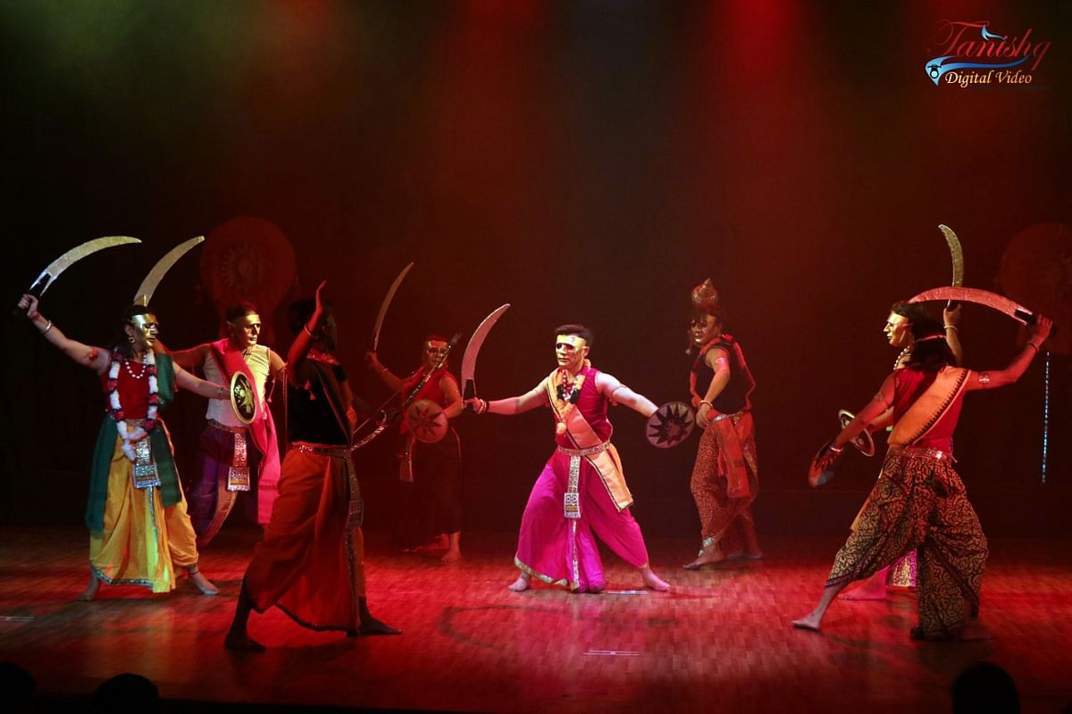A scene from Mahabharat ballet staged in Bhopal on Sunday evening