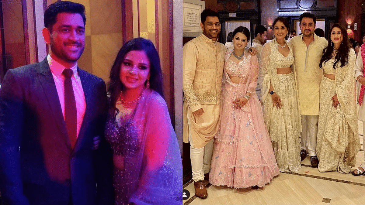 Viral video of MS Dhoni at a wedding 'pawri' with wife Sakshi is winning hearts on Instagram