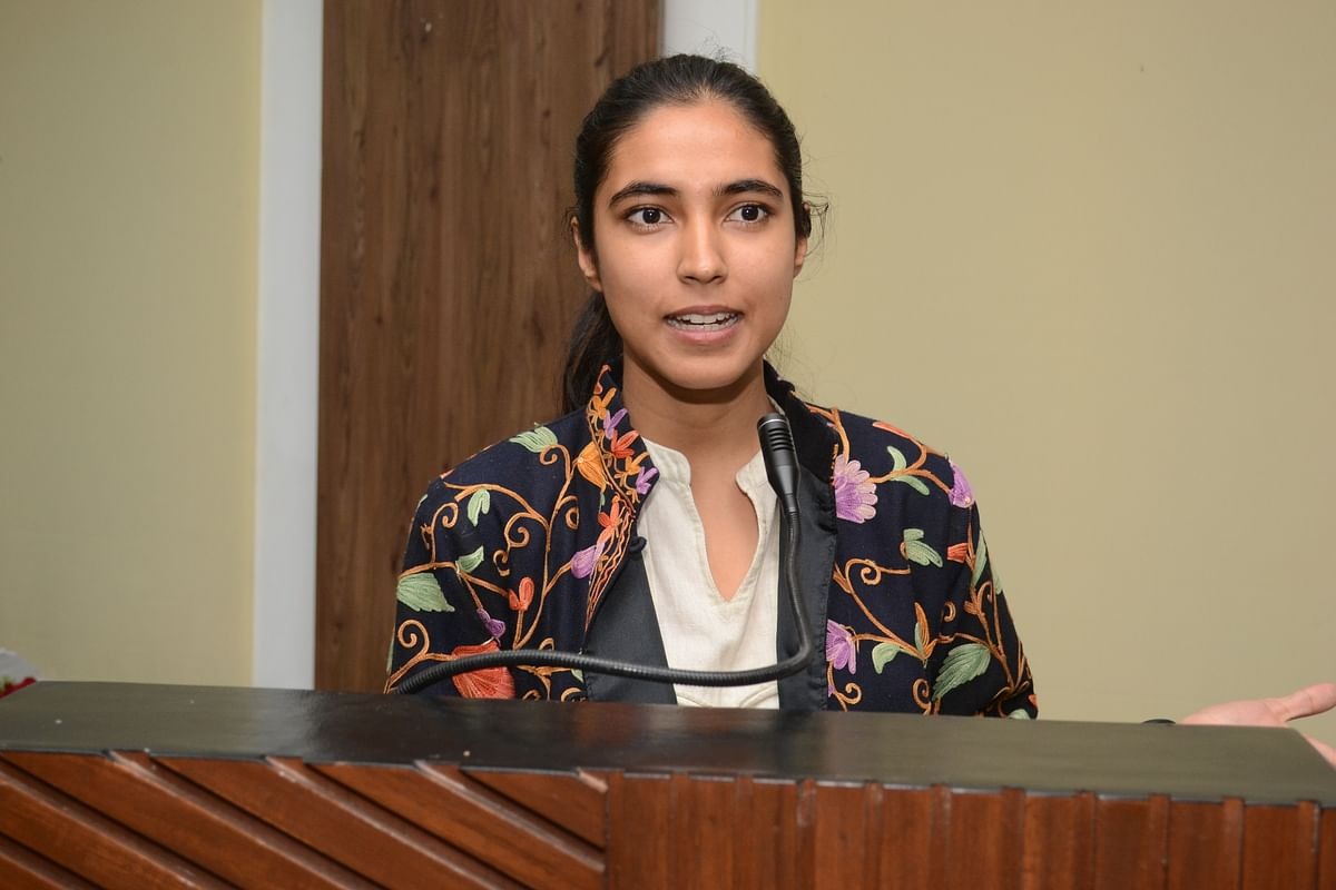 Life coach Aishwarya Bedhotiya at Daly College Business School function in Indore on Saturday
